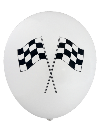 Pre-Printed Balloons - Chequered Flag (30cm, 12pk)