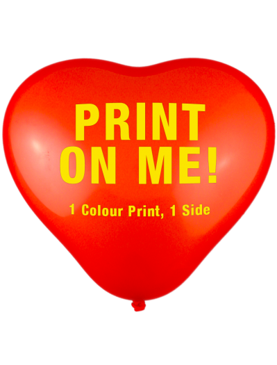 Custom Printed Balloons (30cm Heart Shape, 1 colour print, 1 side)