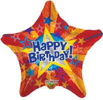 Star Shaped Happy Birthday Foil Balloon (45cm, single pk)