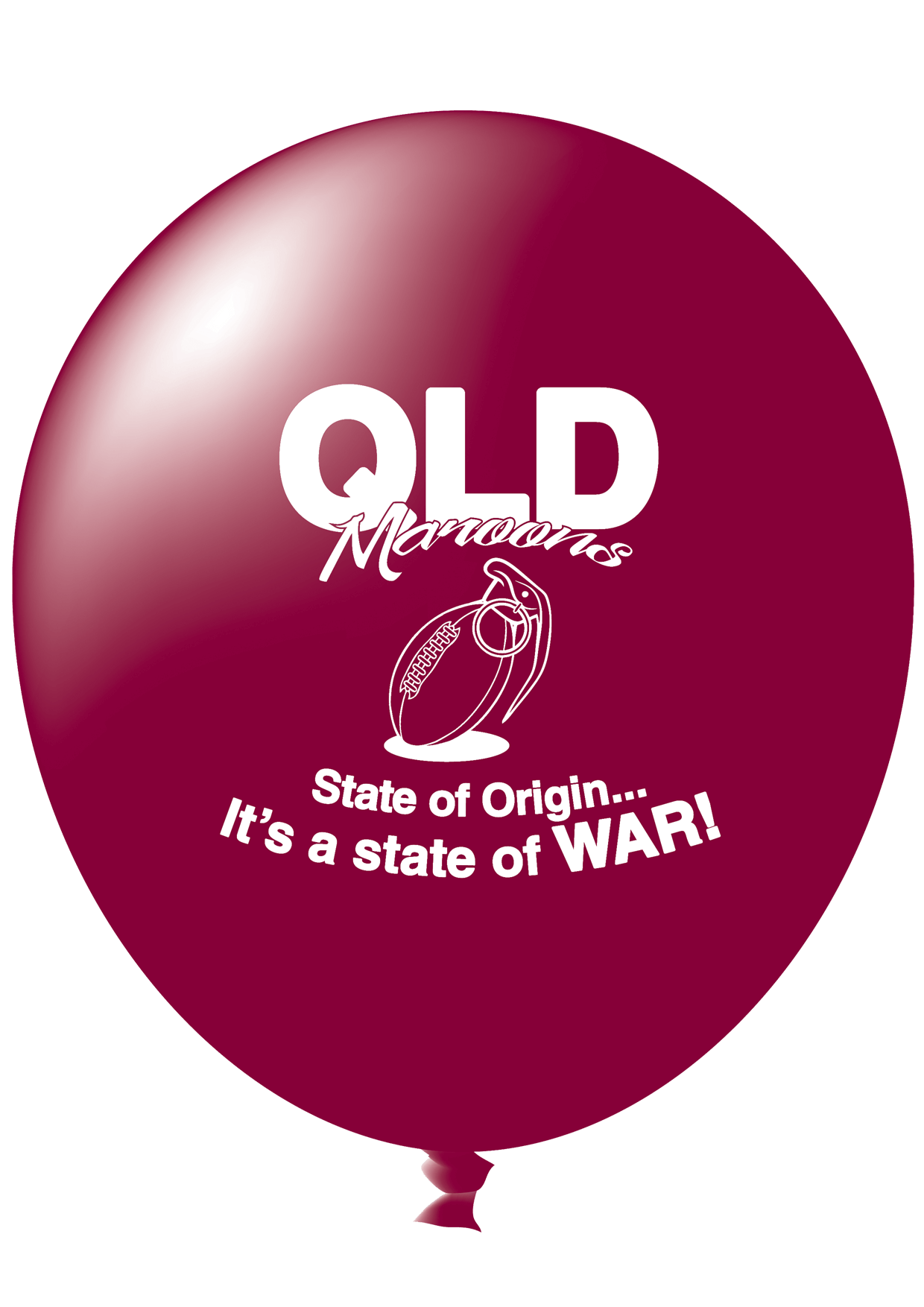 Pre-Printed Balloons - QLD State of Origin, It's A State Of War (30cm, 25pk)