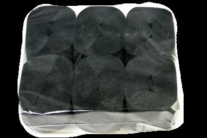 Crepe Streamer, 35mmx13mt, Black, 6pk