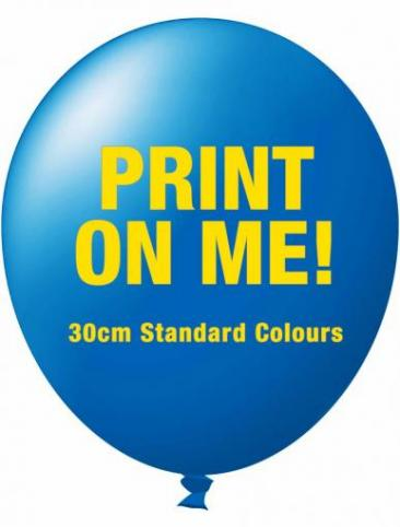 30cm Standard Balloons Fixed Qty Packs (1 colour print, 1 side)