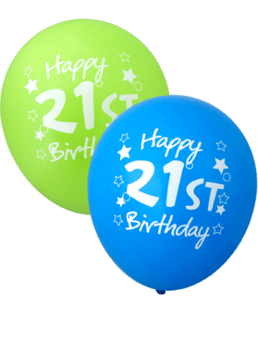 Happy 21st Birthday Balloons (30cm, Assorted Colours, 12pk)