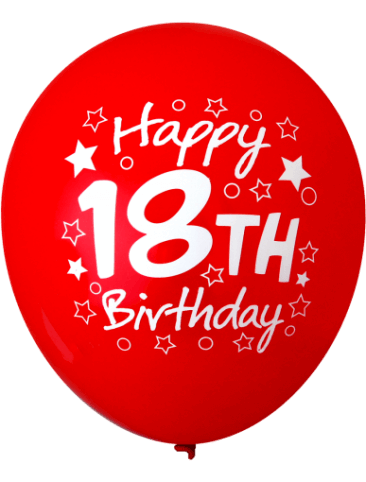Happy 18th Birthday Balloons - (30cm, Assorted Colours, 12pk)