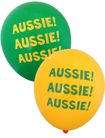 Aussie Aussie Aussie Balloons (30cm, Mixed Green and Gold, 12pk)