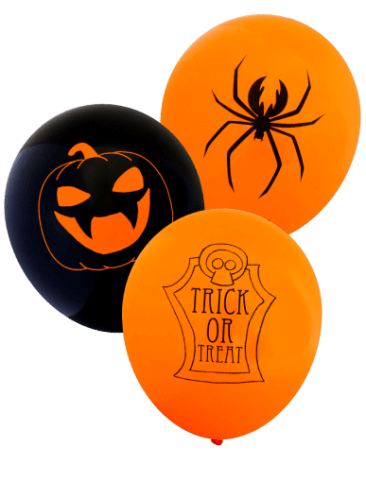 Assorted Halloween Balloons (30cm, Mixed Black & Orange, 12pk)
