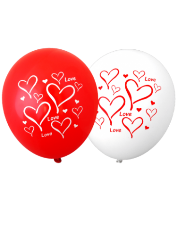 Love Hearts Balloons (30cm, Mixed Red and White, 12pk)