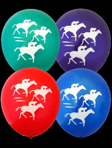 Pre-Printed Balloons - Racehorses (30cm, Metallic Balloons, 12pk)