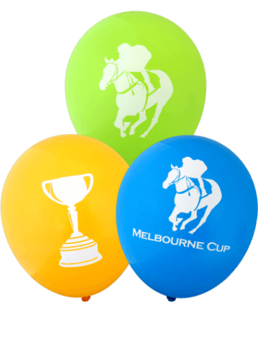 Pre-Printed Balloons - Melbourne Cup, Assorted Images (30cm, Assorted Colour, 12pk)