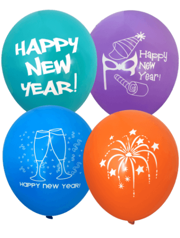 Assorted Happy New Year Balloons (30cm, Assorted Colour, 12pk)