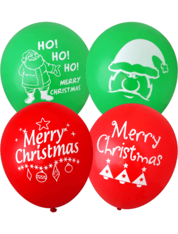 Assorted Merry Christmas Balloons (30cm, Mixed Red and Green, 12pk)