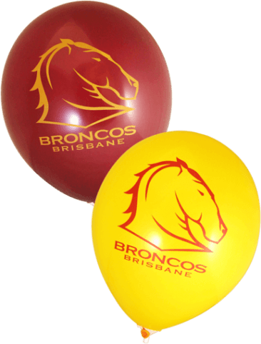 Broncos Supporter Balloons (30cm, Maroon and Yellow, 25pk)