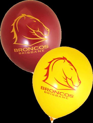Pre-Printed Balloons - Broncos Supporter Balloons (30cm, 25pk)