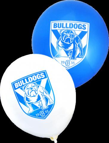 Pre-Printed Balloons - Bulldogs Supporter Balloons (30cm, 25pk)