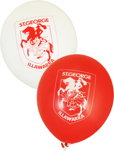 Dragons Supporter Balloons (30cm, White and Red, 25pk)