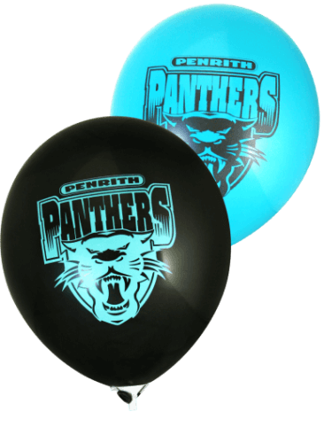 Panthers Supporter Balloons (30cm, Black and Blue, 25pk)