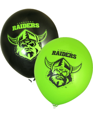 Raiders Supporter Balloons (30cm, Green and Black, 25pk)