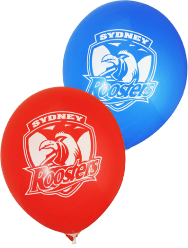 Roosters Supporter Balloons (30cm, Red and Blue, 25pk)