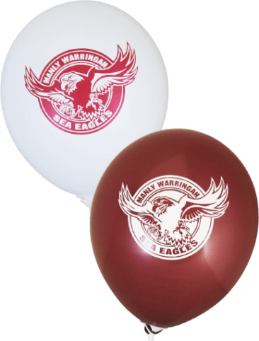 Sea Eagles Supporter Balloons (30cm, White and Burgundy, 25pk)