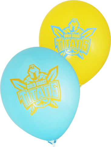 Titans Supporter Balloons (30cm, Yellow and Light Blue, 25pk)