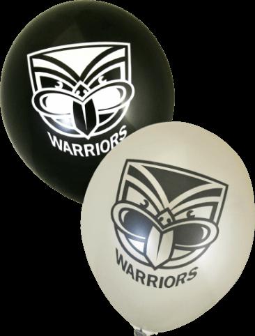 Warriors Supporter Balloons (30cm, Black and White, 25pk)