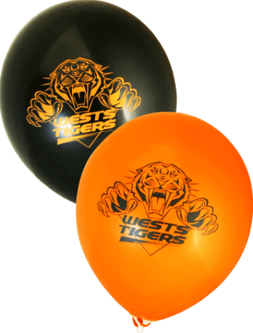 West Tigers Supporter Balloons (30cm, Black and Orange, 25pk)