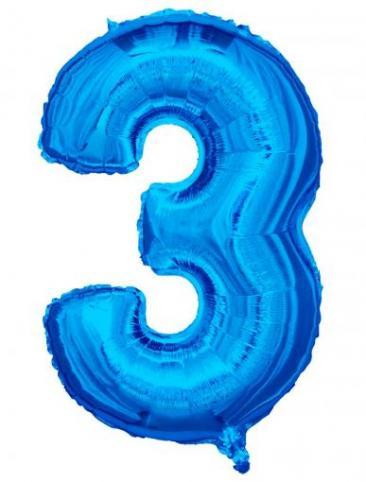 Blue Number - 3 (86cm, single pk)
