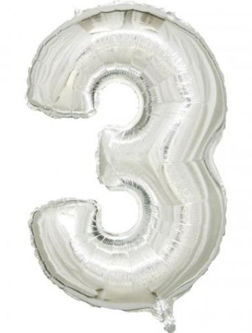 Silver Number - 3 (86cm, single pk)