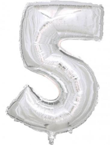 Silver Number - 5 (86cm, single pk)