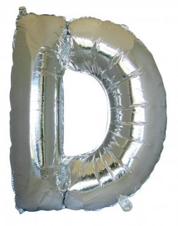 Letter D (86cm, Silver, single pk)