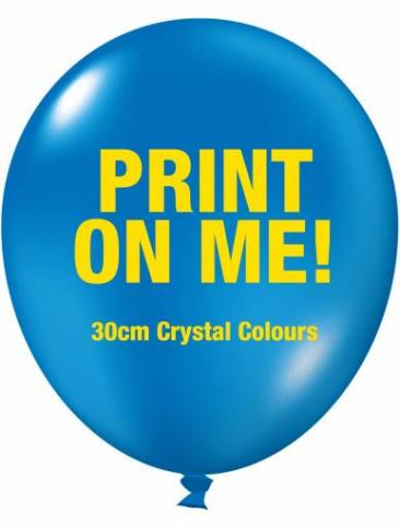 30cm Crystal Balloons Fixed Qty Packs (1 colour print, 1 side)