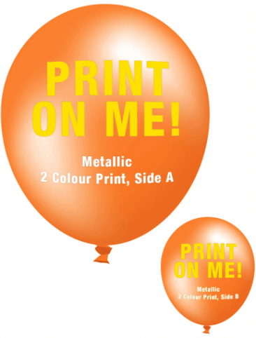 Custom Printed Balloons (30cm Metallic, 2 Colour Print, 2 Sides)