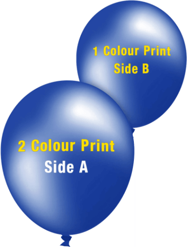 Custom Printed Balloons (30cm Metallic, 2 Colour Print on Front, 1 Colour Print on Back)