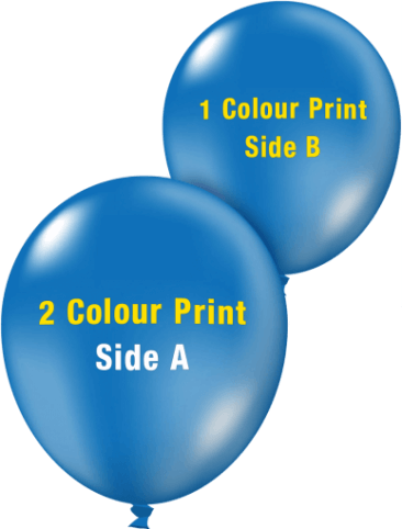 Custom Printed Balloons (30cm Crystal, 2 Colour Print on Front, 1 Colour Print on Back)