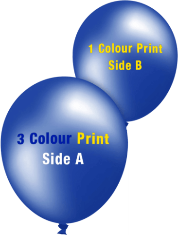 Custom Printed Balloons (30cm Metallic, 3 Colour Print on Front, 1 Colour Print on Back)