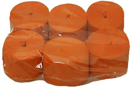 Crepe Streamer, 35mm x13m, Orange, 6pk